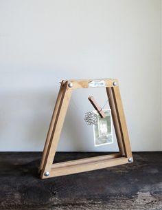 Display Photo Frame Made From a Vintage Wood Tennis Racket Bracket Press