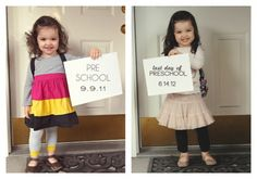 Take a pic of your kid on the first and last day of school each year ... will make you sad to see them grow so fast! :(