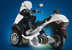 Piaggio offers a 3-wheeled hybrid-electric scooter.