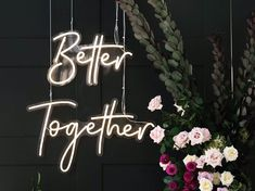 Better together neon sign rentals from bloomingbelles rentals in Las Vegas. Perfect for weddings or events. talk to us today about renting or ordering a custom neon sign for your Las Vegas wedding or party Boulder City, Custom Neon Signs, Sign Lighting, Las Vegas Weddings, Renting, Better Together, Party Guests, Wedding Signs, Light Up