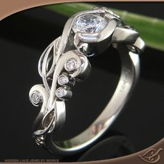 A Beautiful Filigree detailed ring from Green Lake Jewelry style # 82653 #Engagement # Jewelryworks...Similiar to style#56735 shown without the emeralds..