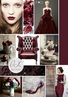 Oxblood trend moodboard by event designers Pocketful of Dreams to inspire your #wedding #lifestyle or #entertaining at home.