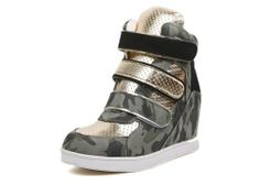 Sportive Low Ankle Boots Military Green Olive & Gold Velcro Fashion Short Boots