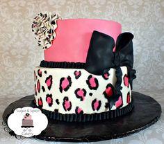 Cheetah Print Birthday Cake