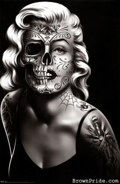 Daygirl Skull Face Art Poster Print - retro vintage Marilyn Monroe style pin up girl with tattoos, day of the dead skull face Marilyn Monroe Tattoo, Marilyn Monroe Kunst, Marilyn Monroe Artwork, Marilyn Manson, Marylin Monroe, Skull Tattoos, Sleeve Tattoos, Aztecas Art, Fille Gangsta