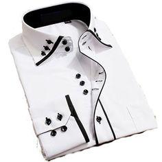 Mens Italian Casual Fancy Collar Slim Fit Formal Designer Shirt Long Sleeve DC04 (M, White)