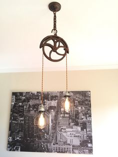 Steampunk Industrial Vintage Well Pulley Pendant Light- Satin Nickel Sockets by TheVintageBulb on Etsy