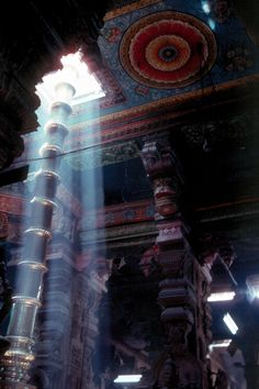 Madurai temple flag tower,sun light in to temple in Meenakshi Amman Temple. - loved & pinned by www.omved.com