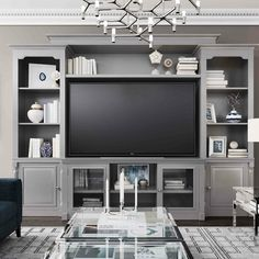 Canora Grey Wisser Entertainment Center for TVs up to 55 inches Colour: Grey Built In Shelves Living Room, Built In Wall Units, Tv Built In, Living Room Wall Units, My Living Room, Living Spaces, Tv Wall Units, Tv Wall Shelves, Living Room Entertainment Center