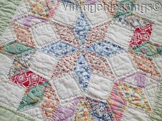 Gorgeous! Vintage 30s Star Quilt Pillow Cover or Bed Runner 86x26