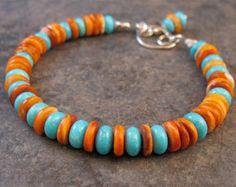 Handmade Blue Turquoise, Orange Spiney Oyster, Beaded Gemstone Bracelet, Silver