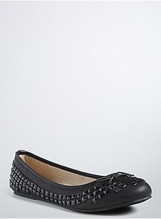 <p>Who says ballerinas can't have a tough streak? An easy, slip-on flat that can easily be dressed up or down, this black faux-leather style has allover tonal studs and super-sweet bows at the toes. Equal parts punk and plié-friendly.</p>  <ul> <li>Man-made materials</li> <li>Imported</li> </ul>