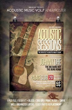 Acoustic Music Flyer / Poster Vol 7 - Events Flyers Download here: https://graphicriver.net/item/acoustic-music-flyer-poster-vol-7/19901792ref=classicdesignp