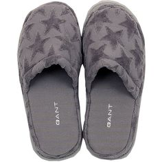 Gant Velour Star Slippers - Women One Size - Stone Grey ($37) ❤ liked on Polyvore featuring shoes, slippers, sleepwear and grey