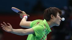 Ning Ding of China competes during her Women's Singles Table Tennis Gold Medal match against Xiaoxia Li of China on Day 5 of the London 2012 Olympic Games at ExCeL.