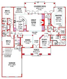 There are a total of four bedrooms although the fourth bedroom could easily be converted to a study. Bedroom #2 and #3 share a jack-and-Jill bathroom. #houseplan #bedroom Ranch House Plans, Cottage House Plans, Craftsman House Plans, Country House Plans, Best House Plans, Modern House Plans, Small House Plans, House Floor Plans