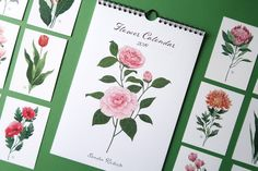 Your place to buy and sell all things handmade Flower Wall, My Flower, Paper Packaging, Botanical Flowers, Gouache, Watercolor Paper, Calendar, Illustrations, Creative