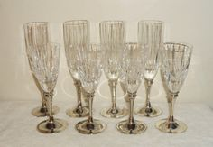 Set of 4 Wine & 4 Champagne Flute Glasses  Lead by BooksShop