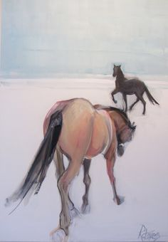 """Rebecca Davies  'Year of the Horse'  24"""" x 36"""" acrylic on panel"""