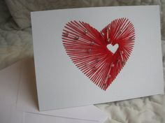 hand embroidered red heart in heart with white by TheGirlintheLane, $6.00