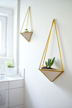 Make it boho - Einrichtung, DIY und Dekoration: DIY Geometrischer Wandgarten aus Messing & Gips (Diy Decoracion Boho)