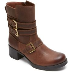 Rockport Women's City Casuals Rola Buckle Bootie Boots (£110) ❤ liked on Polyvore featuring shoes, boots, nutella tumble, zipper ankle boots, ankle strap boots, rockport boots, bootie boots and buckle ankle boots