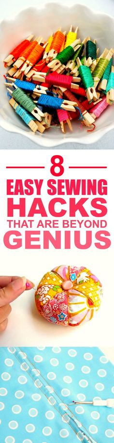 8 Easy Sewing Hacks Every Crafty Person Should Know These 8 super easy sewing hacks and tips are THE BEST! I'm so glad I found this GREAT post! I feel like I can be super crafty now with these great tricks! Definitely pinning for later! Sewing Hacks, Sewing Tutorials, Sewing Crafts, Sewing Patterns, Sewing Tips, Sewing Art, Dress Patterns, Sewing Ideas, Sewing Lessons