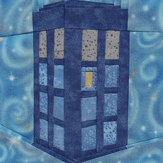 TARDIS by Jennifer Ofenstein, a free paper pieced pattern, updated and simplified.