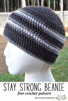 ec898bcbf0b7f Crochet this easy mens hat called the Stay Strong Beanie from Elk Studio  Handcrafted Crochet Designs