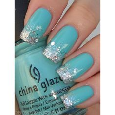 Tiffany blue nails. Stunning and cute. #sparkles #Sparkly #nailart... ❤ liked on Polyvore featuring beauty products, nail care and nail treatments
