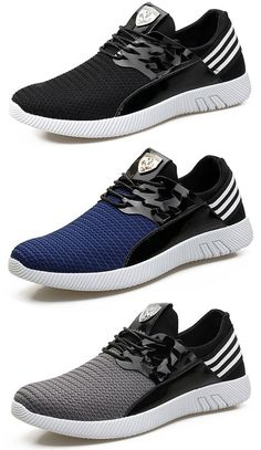 Men Knitted Breathable Lace Up Sport Running Casual Shoes