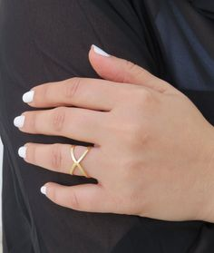 Gold ring X ring Criss Cross Ring Rings for girls by HLcollection
