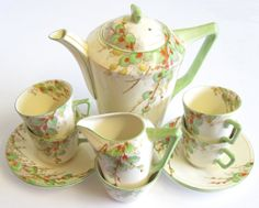 Vintage Rare Art Deco Coffee Set for Four Crown by TheWhistlingMan, £50.00