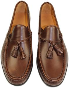 RALPH LAUREN DARK BROWN CALF THOMPSON II LOAFER WITH TASSELS-10D-MADE IN ITALY #RALPHLAUREN #LOAFER