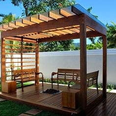The wooden pergola is a good solution to add beauty to your garden. If you are not ready to spend thousands of dollars for building a cozy pergola then you may Diy Pergola, Building A Pergola, Corner Pergola, Small Pergola, Pergola Canopy, Pergola Attached To House, Deck With Pergola, Cheap Pergola, Wooden Pergola
