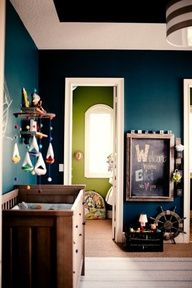 Two walls in the nursery are officially THIS COLOR TEAL  dark teal  kids room