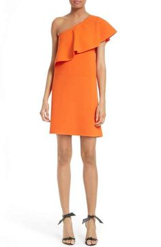 Milly One-Shoulder Flounce Knit Dress