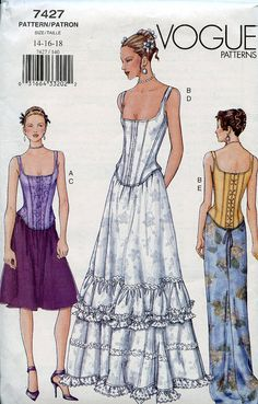Vogue Pattern Corset Top and Skirt variations Sizes 14-16-18 Wedding Gown Evening Wear