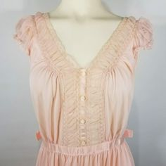 b01c79d2191 Vintage Luxite Nightgown Pale Pink Nylon Semi Sheer Chiffon Pleats Lace  Gown Size 36 Medium by TraSheeWomen on Etsy