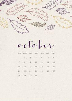 October 2018 iPhone Calendar Wallpaper
