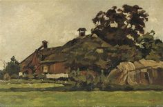 Artwork by Willem de Zwart, A farm house under trees, Made of oil on canvas laid down on panel