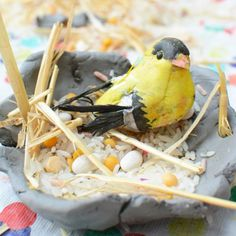 Make these beautiful clay bird's nests. A fun and easy sensory art project for kids.