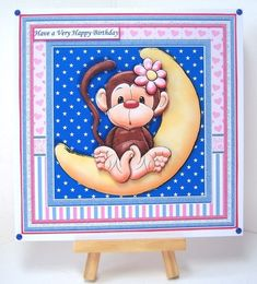 MONKEY LOVE YOU TO THE MOON & BACK 8x8 Decoupage & Insert Mini Kit - CUP842229_68 | Craftsuprint Very Happy Birthday, Printable Crafts, Cute Cards, Happy Mothers, Monkeys, Decoupage, Card Making, Love You, Kids Rugs