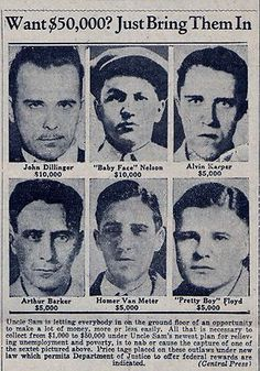 "1934 ""WANTED"" Reprinted wanted poster"