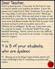 Dear Teachers, Dyslexia is 1 in 5.