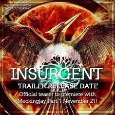 INSURGENT TRAILER COMES OUT NOVEMBER 21!!!!!! ~Divergent~ ~Insurgent~ ~Allegiant~