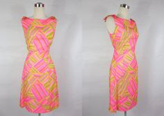 1960's Vintage Pink and Yellow Geometric Wiggle by FrenchKissxo