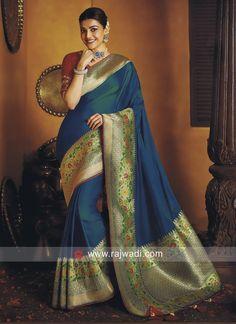Kajal Aggarwal Teal Green Silk Traditional Saree with Zari Gold Woven Border and Pallu Bollywood Designer Sarees, Bollywood Lehenga, Beautiful Saree, Beautiful Indian Actress, Cotton Silk, Silk Satin, Trendy Kurti, Indian Girl Bikini, Banarsi Saree