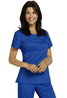 HeartSoul Romance 3-pocket keyhole scrub top.