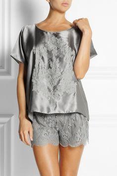 Rosamosario|Skyfall Chantilly lace-appliquéd silk-satin top|NET-A-PORTER.COM